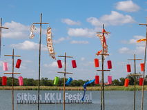 Festival Thailand. Colorful paper, textiles and bamboo lamp lighting and decoration flags made with THAI traditional handmade craft style for modern usage as Stock Images