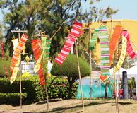 Festival Thailand. Colorful paper, textiles and bamboo lamp lighting and decoration flags made with THAI traditional handmade craft style for modern usage as Royalty Free Stock Image