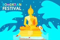 Festival Thailands Songkran Die meisten Leute ziehen es vor zu gehen, Wasser zu einer Buddha-Statue an zu besprühen Stockbild