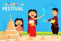 Festival Thailands Songkran ist das neue Jahr von Thailand Die meisten Leute ziehen es vor, zum Tempel zu zu gehen Lizenzfreie Stockfotografie