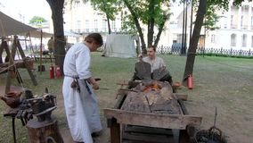 At the festival Times and Epochs. Moscow, Russia, June 09, 2019: At the festival Times and Epochs. Blacksmiths and blacksmiths. The site is dedicated to stock footage