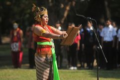Festival to celebrates the World Day Tourism in Indonesia. A tourism activists uses traditional puppet costumes during the festival to celebrates the World Day Royalty Free Stock Image