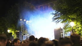 Festival in Toledo, Spain, musicians performing at night. Live performance of a rock group on a festival in Toledo, Spain. Night, open air, smoke and a unique stock footage