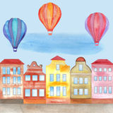 Festival in town with balloons. Watercolor hand drawn illustration for greeting cards, invitations, posters Stock Photos