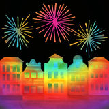 Festival in town with fireworks. Watercolor hand drawn illustration for greeting cards, invitations, posters Stock Photography