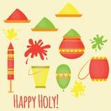 Festival tradicional de Holi del indio de los colores, elementos del diseño en el estilo indio, celebración colorida del hinduism stock de ilustración
