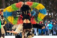 Festival tradicional del traje de Kukeri en Bulgaria Foto de archivo libre de regalías