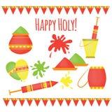 Festival tradizionale di Holi dell'indiano dei colori, elementi di progettazione nello stile indiano, celebrazione variopinta di  Fotografie Stock