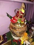 Festival tradizionale indiano e decorazione ind? di Varalakshmi Vratham della dea immagini stock