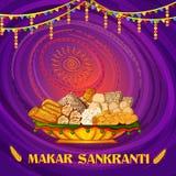 Festival tradizionale religioso felice di Makar Sankranti del fondo di celebrazione dell'India illustrazione di stock