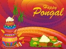 Festival tradizionale religioso felice di Pongal del fondo di celebrazione dell'India del Tamil Nadu illustrazione vettoriale