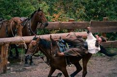 Festival tradizionale ucraino in Zaporozhye Khortitsa isola sul 1° ottobre 2013 fotografie stock libere da diritti