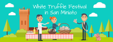 Festival of Truffle Festival in San Miniato Banner. Festival of truffle festival in San Miniato web banner. Happy people selling tasty mushrooms on culinary Stock Image