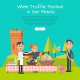 Festival of Truffle Festival in San Miniato Banner. Festival of truffle festival in San Miniato web banner. Happy people selling tasty mushrooms on culinary Royalty Free Stock Image