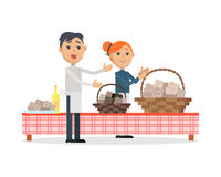 Festival of Truffle Festival in San Miniato Banner. Festival of truffle festival in San Miniato web banner. Happy people selling tasty mushrooms on culinary Royalty Free Stock Photos