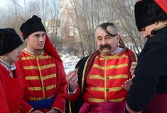 Festival of Ukrainian Cossacks in a park in Kiev, January 26, 2013 stock images