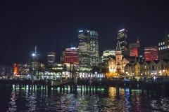 Festival vívido, cais circular, as rochas e CBD, Sydney, Austrália foto de stock royalty free