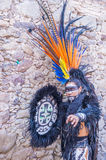 Festival of Valle del Maiz. SAN MIGUEL DE ALLENDE , MEXICO - MAY 31 : Native American with traditional costume participates at the festival of Valle del Maiz on royalty free stock photography
