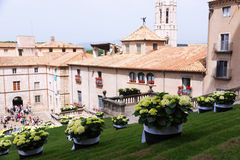 Festival van bloemendecoratie in Girona Stock Afbeelding