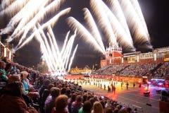 Festival van de de Tatoegeringsmuziek van het Kremlin het Militaire in Rood Vierkant royalty-vrije stock foto's