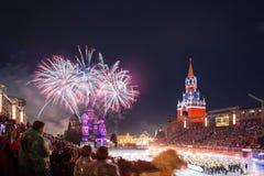 Festival van de de Tatoegeringsmuziek van het Kremlin het Militaire in Rood Vierkant royalty-vrije stock afbeeldingen