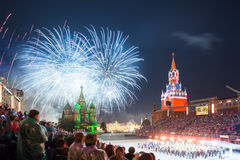 Festival van de de Tatoegeringsmuziek van het Kremlin het Militaire in Rood Vierkant stock afbeelding