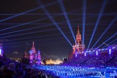 Festival van de de Tatoegeringsmuziek van het Kremlin het Militaire in Rood Vierkant stock foto's