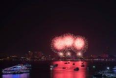 Festival van het Pattaya het Internationale Vuurwerk Royalty-vrije Stock Fotografie