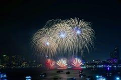 Festival van het Pattaya het Internationale Vuurwerk Royalty-vrije Stock Foto