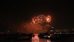 Festival van het Pattaya het Internationale Vuurwerk, Thailand stock videobeelden