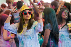 Festival van Kleur Holi één partij Stock Foto