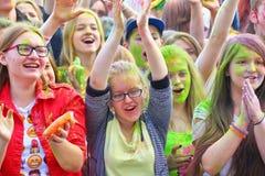 Festival van kleuren Holi in Tula, Rusland Stock Foto's