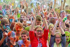 Festival van kleuren Holi in Tula, Rusland Stock Afbeelding