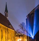 Festival van licht in de oude stad van Riga, Letland Stock Foto
