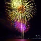 Festival variopinto del fuoco d'artificio nella celebrazione Fotografie Stock Libere da Diritti
