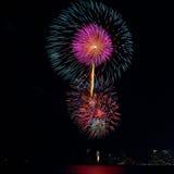 Festival variopinto del fuoco d'artificio nella celebrazione Immagini Stock