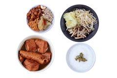 Festival vegetal chinês como o mingau do arroz fritou o tofu e o fermento fotografia de stock royalty free