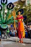 Festival 2019, via Carnaval, tema fantastico dei mondi, ritratto del limone di Menton dell'artista immagini stock