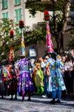 Festival 2019, via Carnaval, tema fantastico dei mondi, ritratto del limone di Menton dell'artista immagini stock libere da diritti