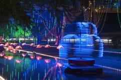Festival von Lichtern - langsame Fensterladen-Nachtphotographie Lizenzfreie Stockfotos