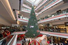 Festival Walk Swarovski Crystal Christmas Tree Decorations in Hong Kong. Swarovski are displaying a 70 feet Christmas tree in Festival Walk, Kowloon Tong, Hong royalty free stock image