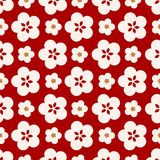 Japanese Cute Big Cherry Blossom Pattern. On red background royalty free illustration