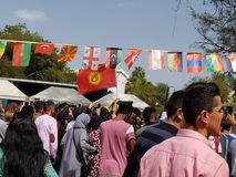 The festival, where students from around the world.  The photo shows the countries of Kazahstan, Kyrgyzstan, Azerbaijan. The festival, where students from around stock photo