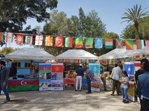The festival, where students from around the world.  The photo shows the countries of Kazakhstan, Kyrgyzstan, Azerbaijan. The exhibition is organized by the stock photos