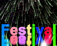 Festival Word With Fireworks. Shows Entertainment Event Or Party Stock Image
