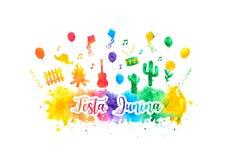 Festivalaquarell-Regenbogenfahne Festa Junina Brasilien Folklorefeiertag Festivalfeuer Auch im corel abgehobenen Betrag stock abbildung