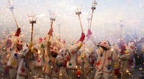Festivalen av kan - visa med fyrverkerier Royaltyfri Foto