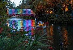 Festivalen av ljus i Pukekura parkerar, Taranaki, den norr ön Nya Zeeland royaltyfria foton