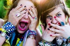 Festivalfolk, ansiktsuttryck Arkivbilder