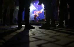 Show lights during acoustic at FiraB festival in Mallorca royalty free stock image